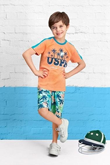 U.S. Polo Assn. Lisanslı Erkek Çocuk Bermuda Takım Pembe